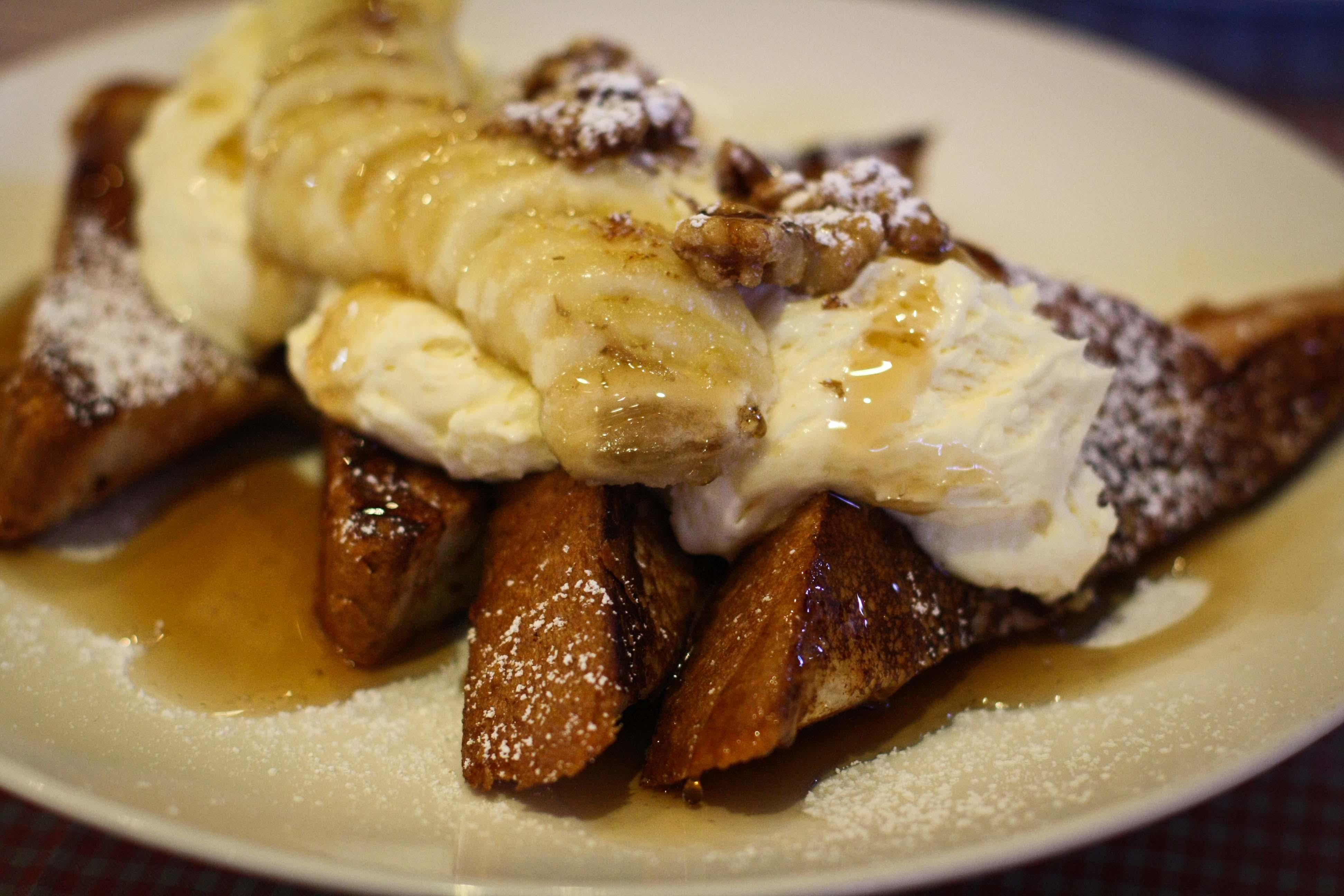 Stuffed French Toast - Caramelized Bananas, walnuts and banana pudding