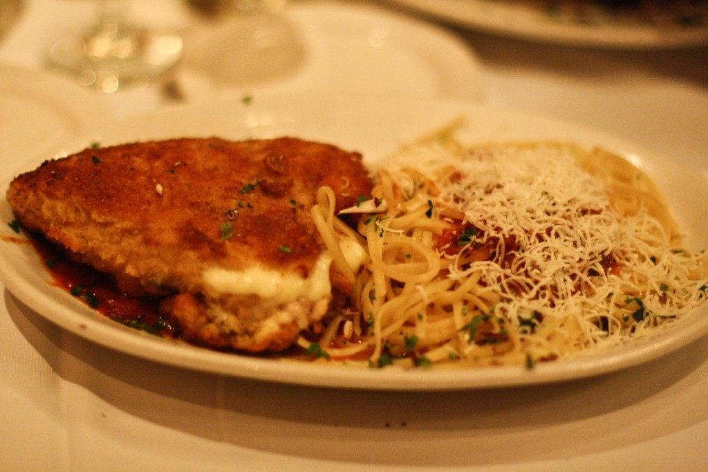 Chicken Cordon Bleu with linguine