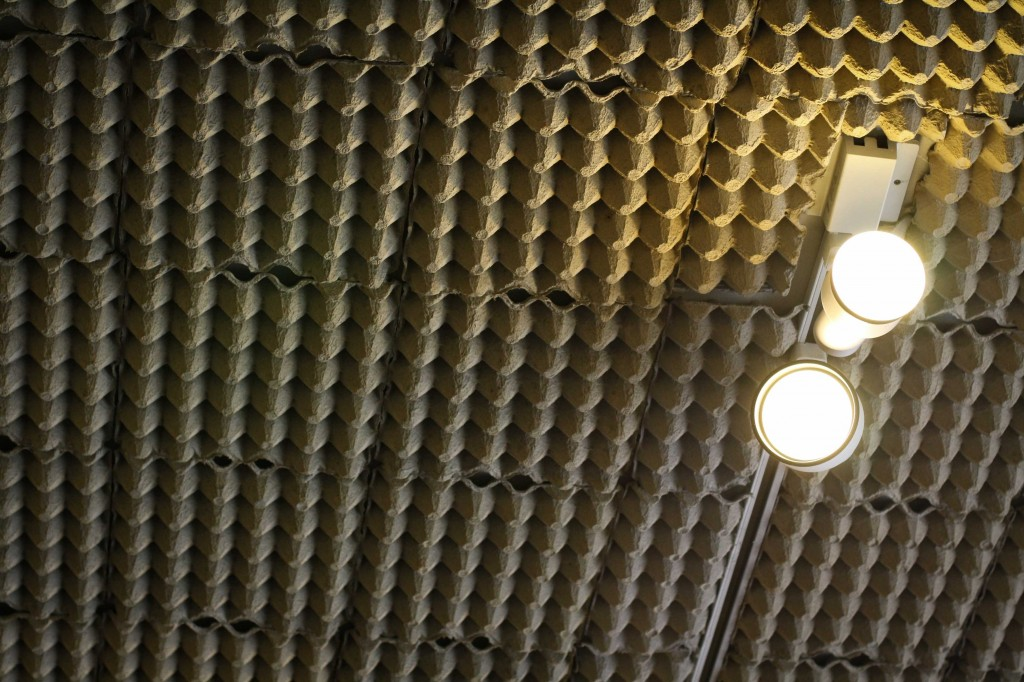 Egg cartons on the ceiling.