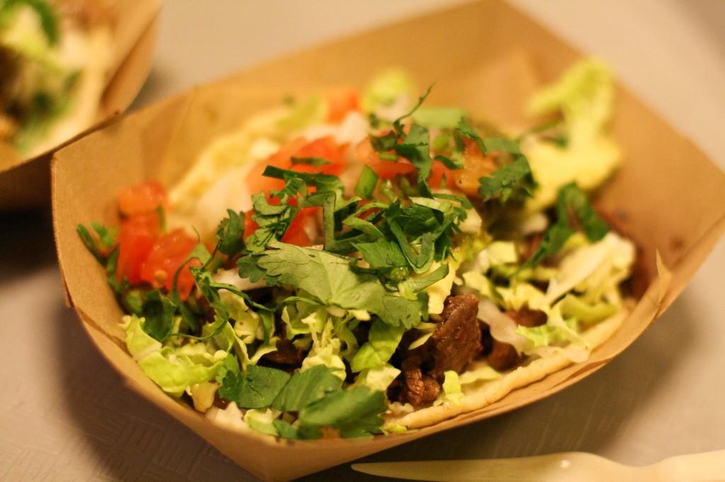 Mixto Taco - Carne Asada, napa cabbage, onion, avocado, cilantro, white beans, green tomatillo salsa