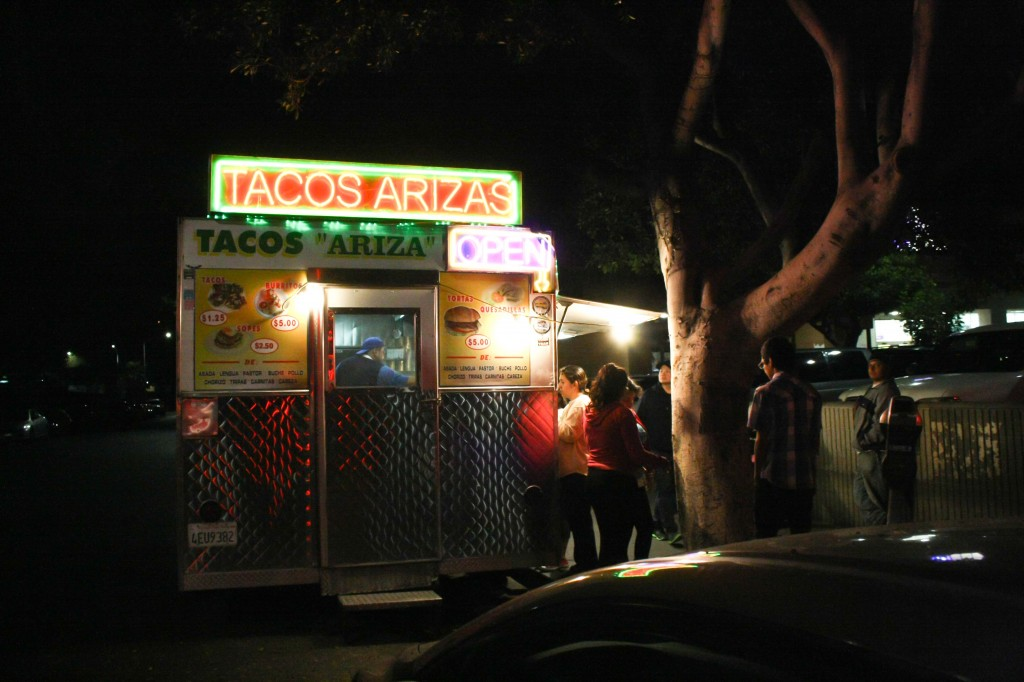 Taco trucks are either where folks get their dinner or where drunk people chow down before they attempt to drive home after the bars.