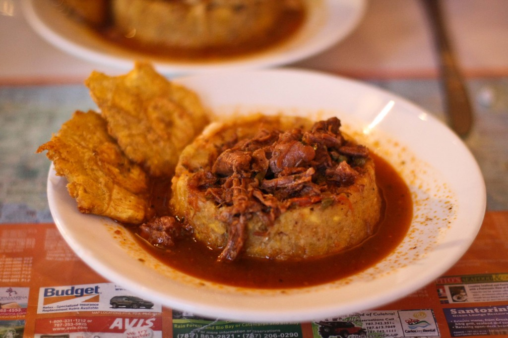Mofongo de Carne Guisada -   Mofongo stuffed with beef stew with bell peppers