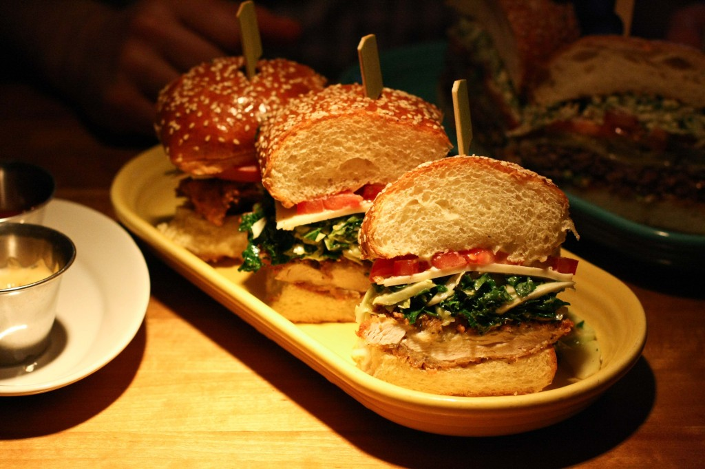 Fried Chicken Sandwich with kale cole slaw