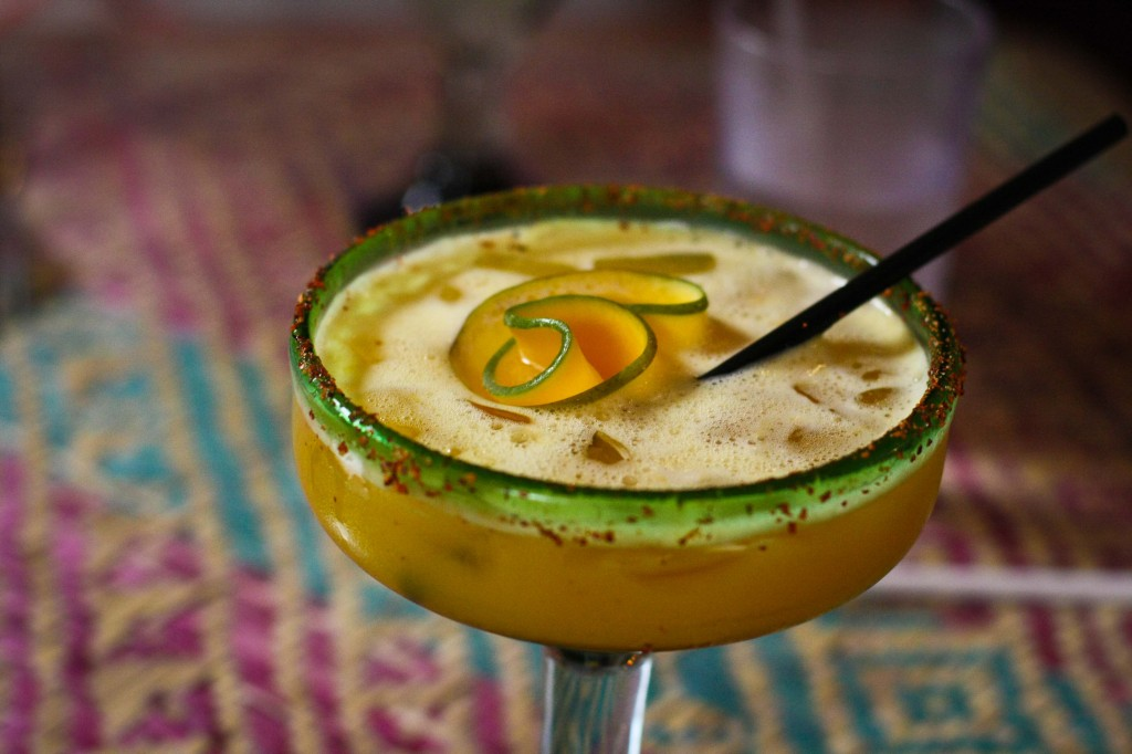 Pasión de Oaxaca -  Aged mezcal, Silver Sauza, passion fruit, grapefruit juice, tajin
