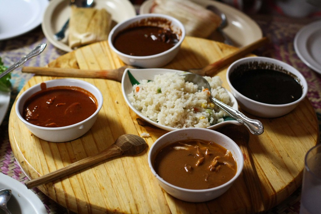 Festival de Moles - Mole tasting plate includes black mole, red mole, estofado and coloradito, served with sliced chicken breast, a side of rice and a hand-made tortilla