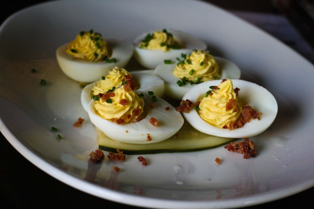 Deviled Eggs - smoked serrano powder, house bacon, house pickles, smoked salt