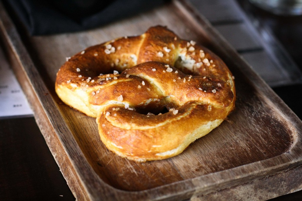 Pretzel - sea salt, beer mustard, bacon-fontina cheese sauce