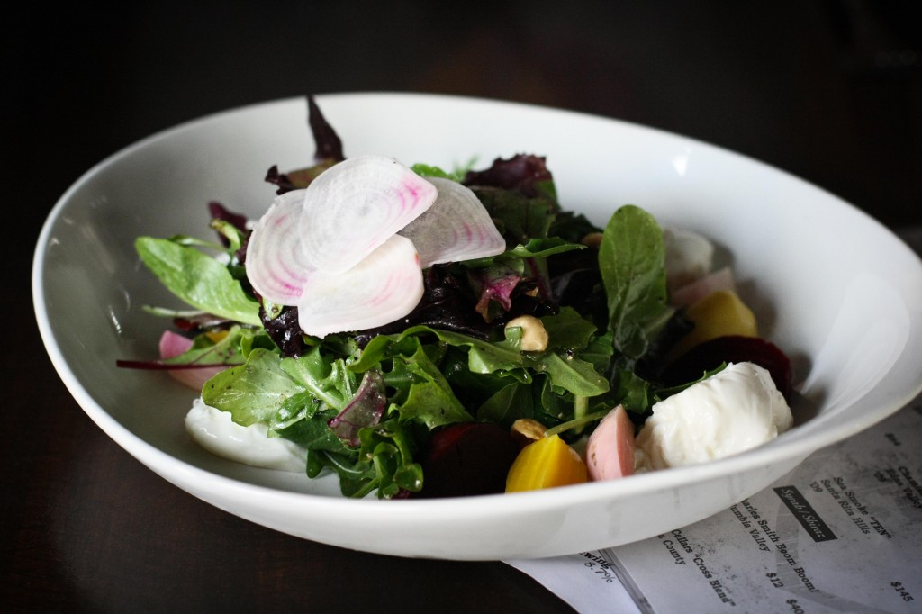 Beet Salad -  roasted and raw beets, burrata, mixed greens, toasted hazelnuts, honey thyme vinagrette