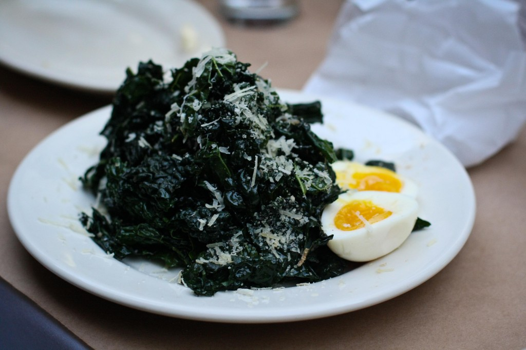 Black Kale, Pecorino Sardo & 6 minute egg w/Balsamic Vinegar & Extra Virgin Olive Oil