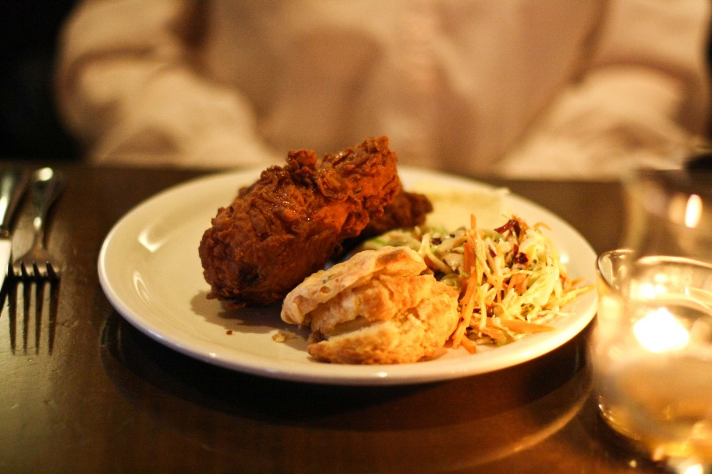 Fried Chicken with mashed potatoes, cole slaw and biscuit