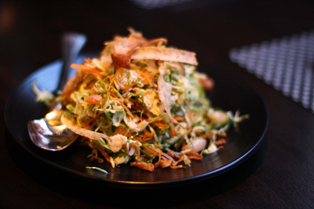 Brussels Sprouts Salad - carrots, peanuts, nam pla vinaigrette, taro chips