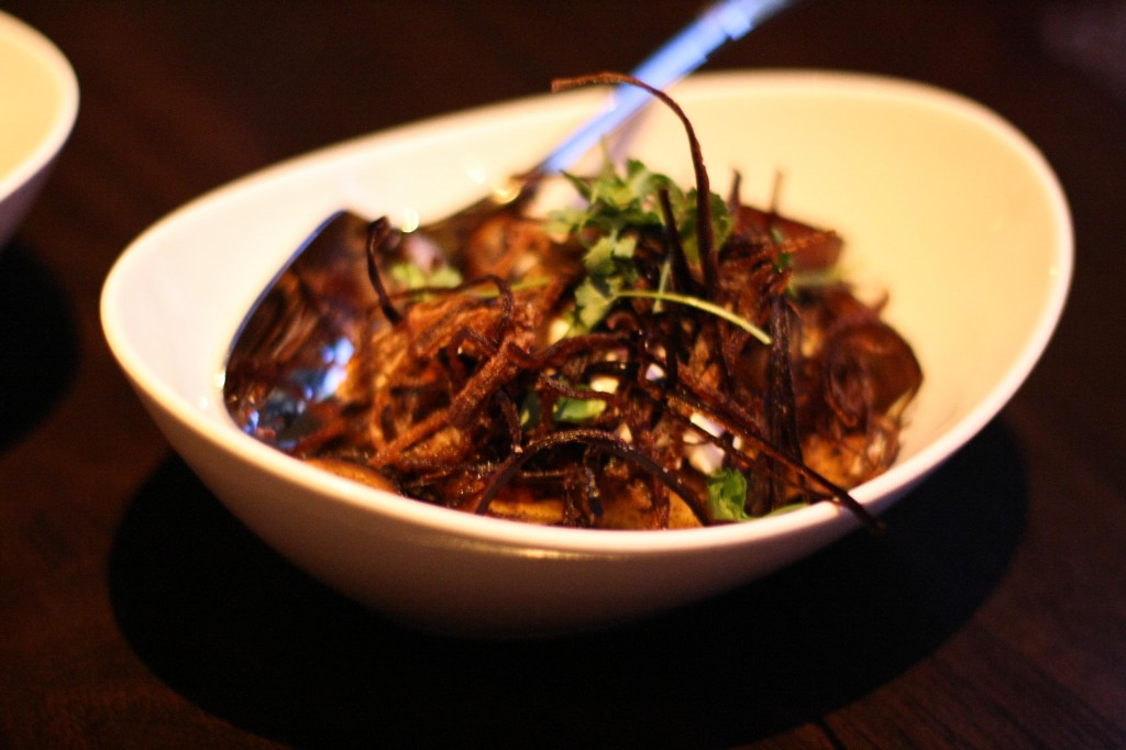 "Chinese Eggplant - fennel raita, tomato sambal, eggplant ""fries"""