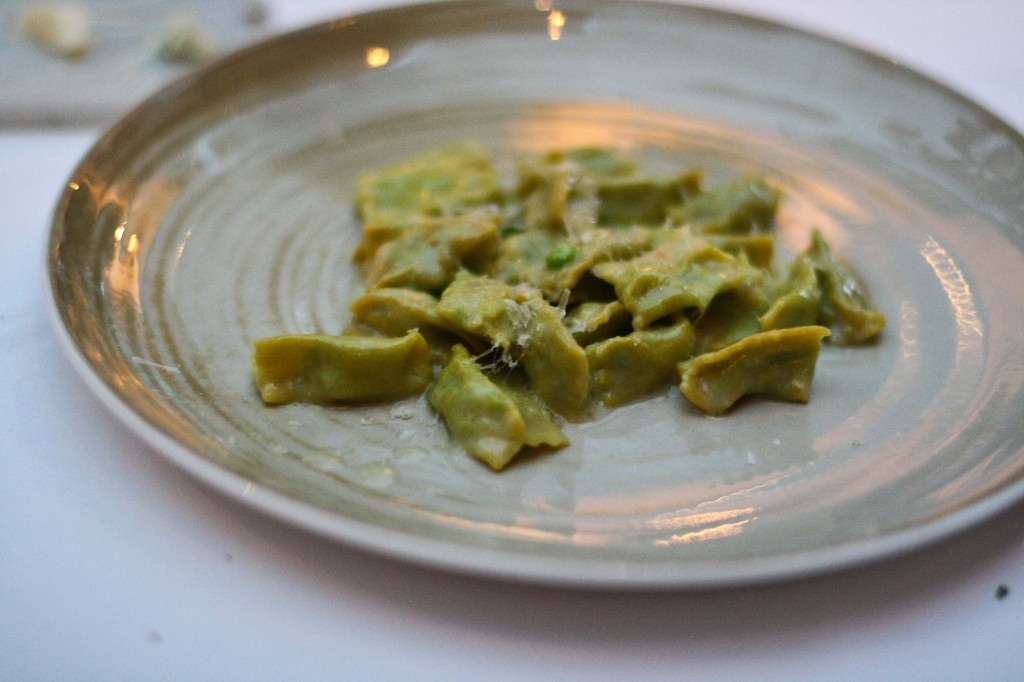 Homemade Agnolotti, English peas, Marscapone, parmesan