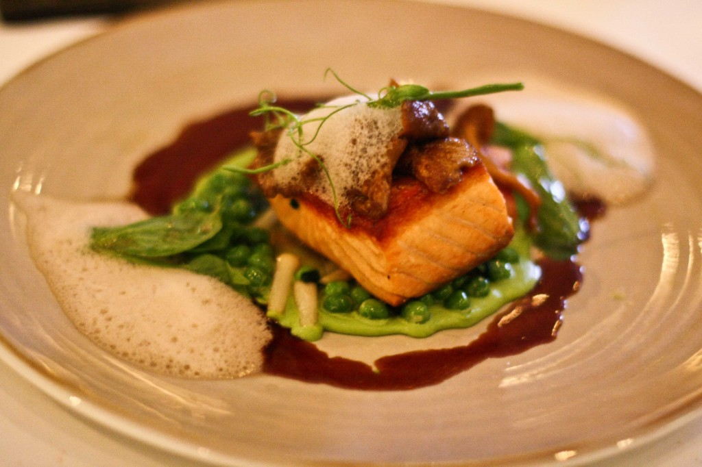 Seared Scottish Salmon, Sweet English Peas, Bacon, Wild Ramps, Yellow-Foot Mushrooms