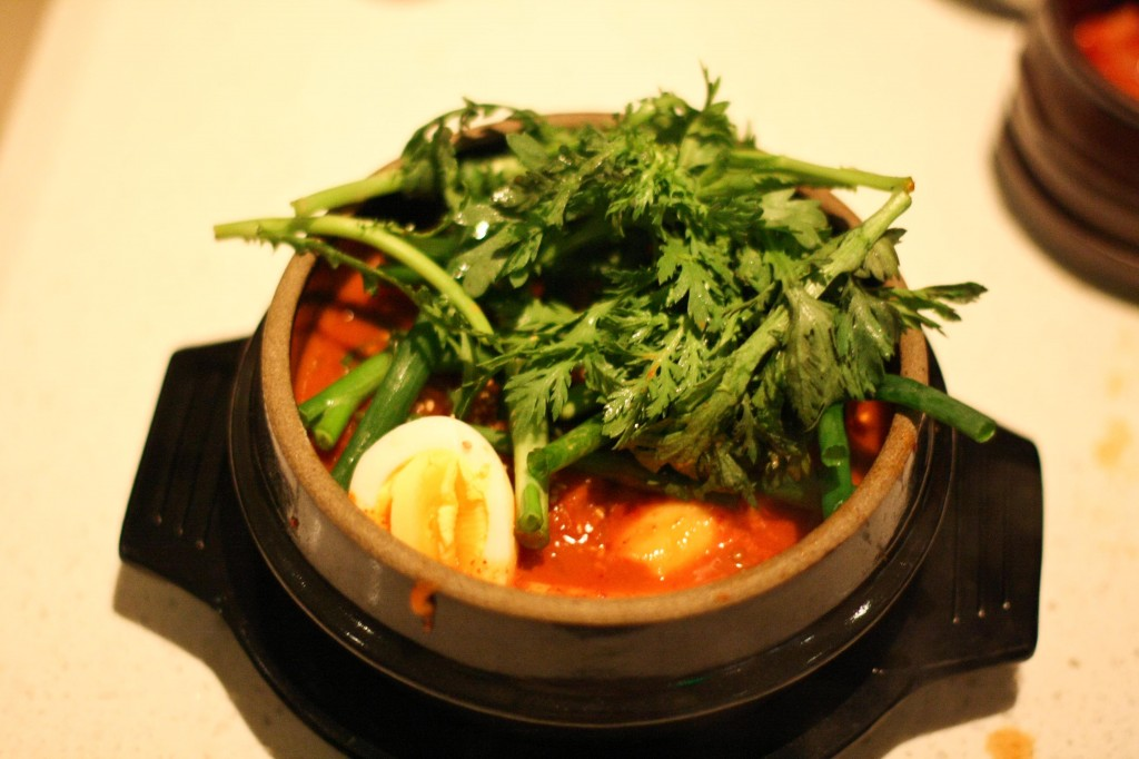 Dang, Son Hot Pot - spicy rice cakes, fish cakes, onions, chewy noodles, hard boiled eggs, scallion, anchovy broth