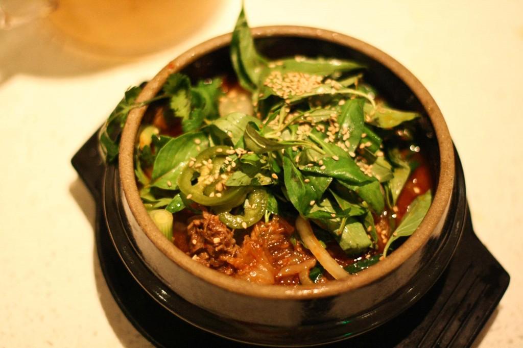 Old School Hot Pot - marinated prime-rib bulgogi, noodles, kimchi, scallion, sesame