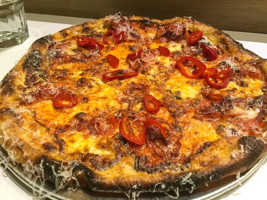 "Pizza -""ham & yeezy"" $19.25 Ham, vodka sauce, red onion, caciocavallo, smoked mozzarella,"