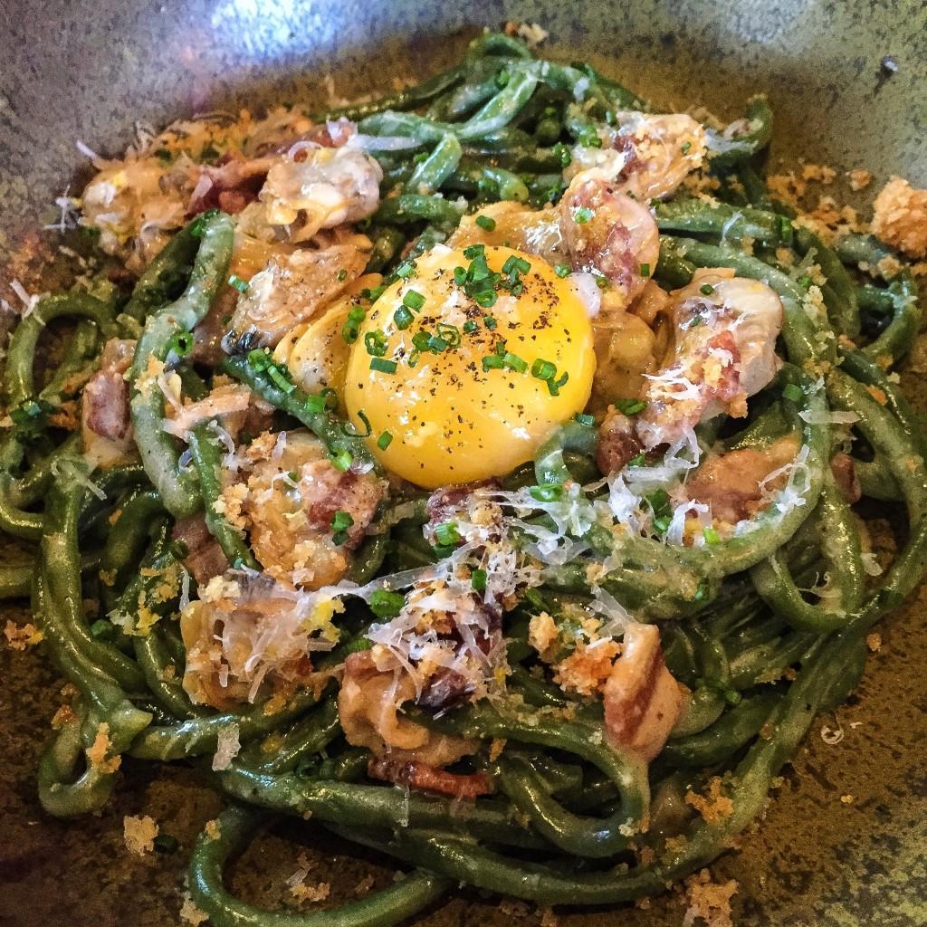 Bucatini $18 - Egg, Bacon, Clam, Crème Fraîche