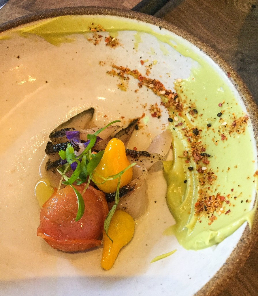 Hamachi $15 - Nori, Avocado, Sweet & Sour Tomatoes